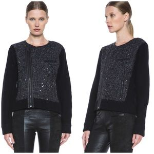 Rag & Bone Selena Wool Sequin Biker Jacket Small